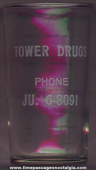 Old Tower Drugs Store Advertising Premium Glass Medicine Measuring Cup