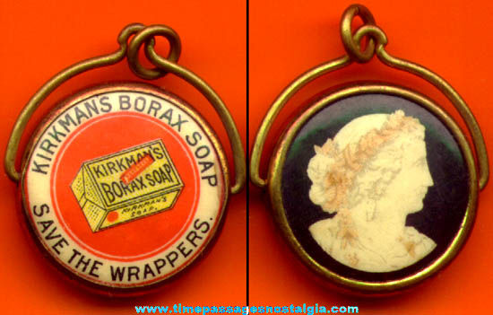 Old Kirkman's Borax Soap Advertising Premium Swivel Jewelry Pendant Charm