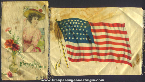(7) Colorful Old Tobacco Premium Pretty Lady & Flag Silks