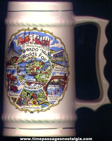 Colorful Expo '74 World's Fair Advertising Souvenir Ceramic Mug