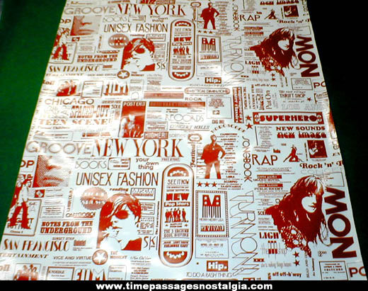 1960s Hippy or Beatnik Underground Advertising Vinyl Wall Covering