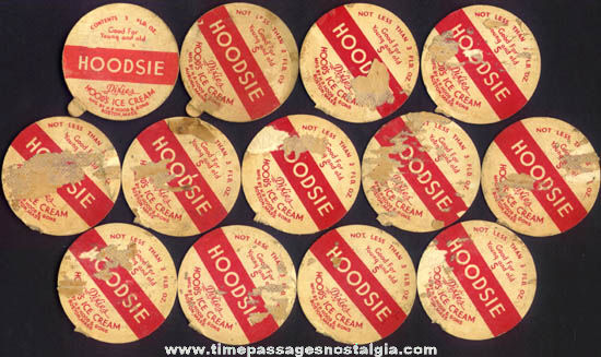 (13) Old Hoods Ice Cream Cup Hoodsie Movie Star Premium Dixie Lids