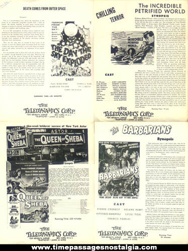 (4) Different Old Movie Promotional Advertising Sheets