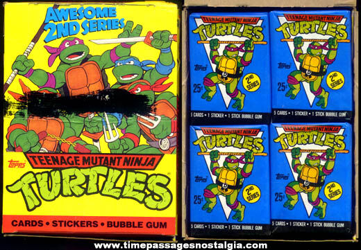 Full ©1990 Teenage Mutant Ninja Turtles Bubble Gum Trading Cards Store Display Box