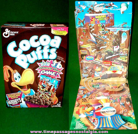 ©1996 Cocoa Puffs Cereal Box With Pop Up Chocolate World Game