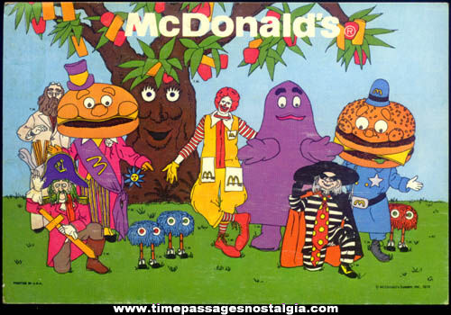 (8) ©1978 McDonald's Restaurant Advertising Character Picture Cards