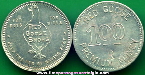 (2) Old Red Goose Shoes Advertising Premium Dollar Coins