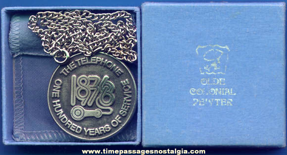Boxed 1976 Telephone Centennial Commemorative Necklace