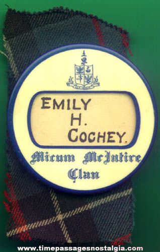 Old Celluloid Scottish Clan Name Badge With Plaid Cloth