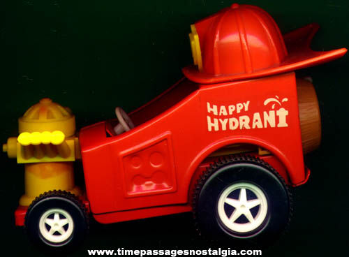 Old Topper Water Squirting Happy Hydrant Hot Rod Toy Fire Truck