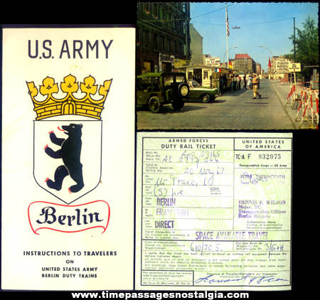 (4) Old United States Army Berlin Germany Traveling Paper Items