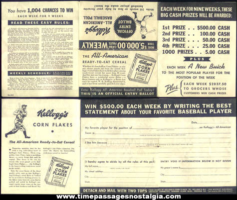 1938 Kellogg's Corn Flakes Cereal Baseball Player Poll Advertisement