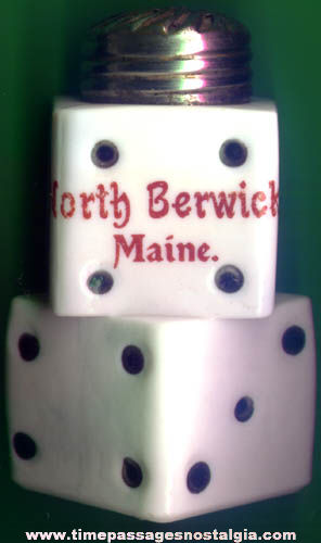 Old North Berwick Maine Advertising Souvenir White Glass Dice Shaker