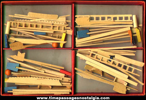Old Boxed Wooden Jack Straws Game
