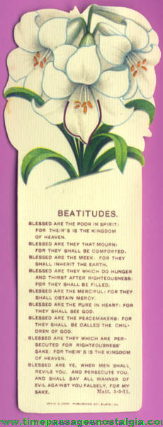 Colorful Old Imprinted Celluloid Religious Book Mark