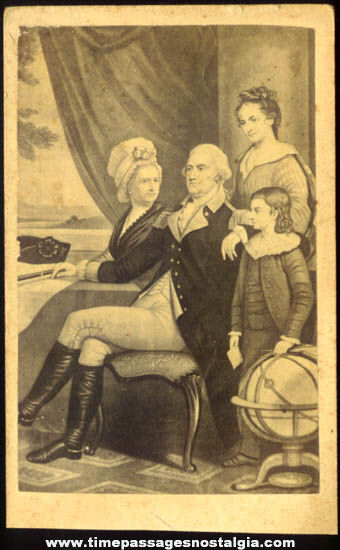 Old U.S. President George Washington & Family Portrait Printed Card