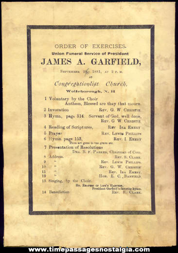 1881 Wolfeborough New Hampshire U.S. President James Garfield Funeral Service Notice