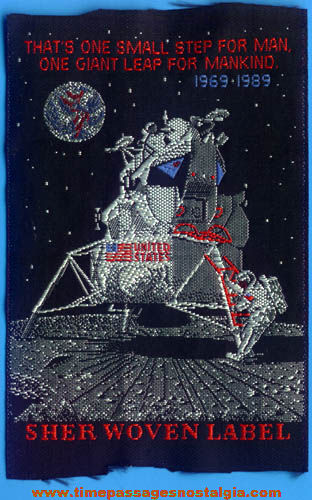 1989 Apollo Moon Landing 20th Anniversary Commemorative Woven Cloth Patch