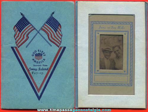 Patriotic World War II Victory Coney Island New York Souvenir Photograph Folder