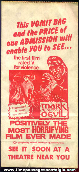 1970 Mark Of The Devil Unused Movie Theatre Premium Vomit Bag