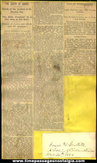 Original 1885 Death Of Jumbo Circus Elephant P. T. Barnum Newspaper Article