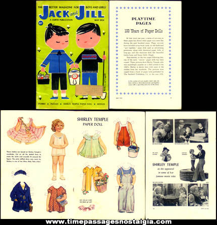 May 1959 Jack & Jill Magazine With Shirley Temple Paper Doll & Clothes