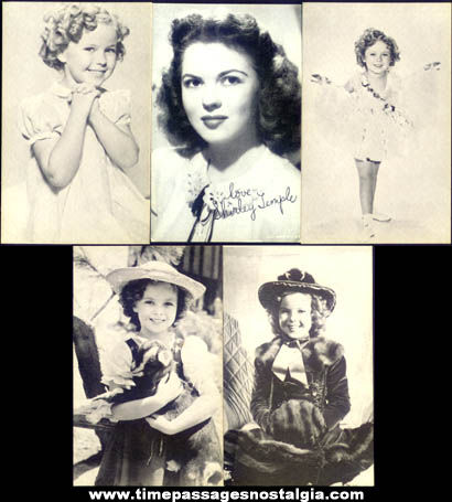(5) Old Shirley Temple Movie Arcade Exhibit Trading Cards
