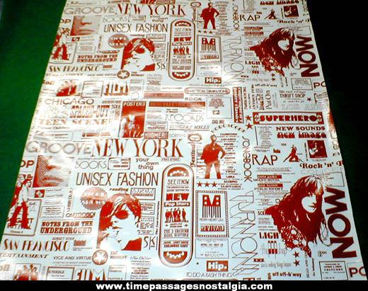 1960s Hippy or Beatnik Underground Advertising Vinyl Wall Covering