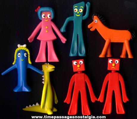 (7) Different Gumby Character Playset Figures