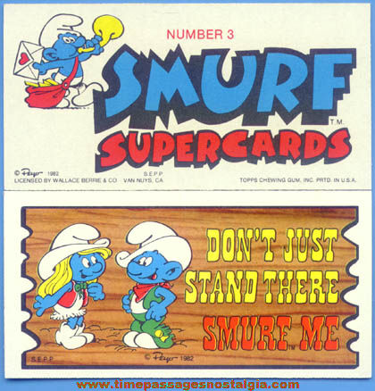 (37) ©1982 Smurf Character Supercards Non Sports Trading Cards