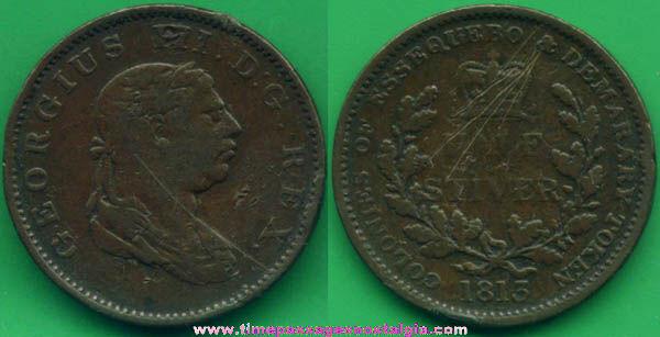 1813 British Guyana 1/2 Stiver Token Coin