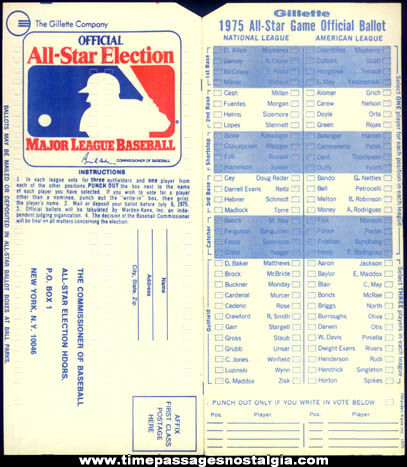 (8) Unused 1970s Gillette Baseball All Star Game Punch Out Ballot Cards
