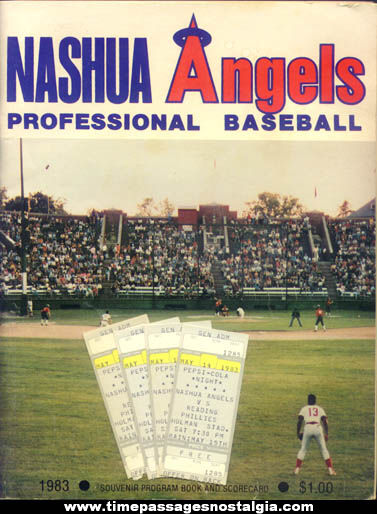 1983 Nashua Angels Souvenir Baseball Program Book With (4) Ticket Stubs