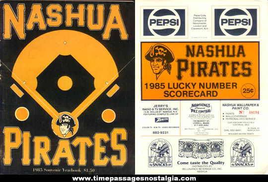 1985 Nashua Pirates Souvenir Baseball Program, Score Card, & Player List