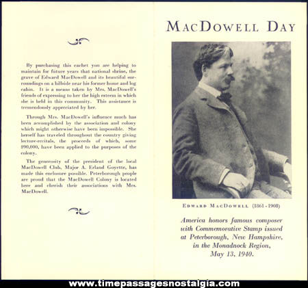 (4) Different 1940 MacDowell Art Colony First Day Covers With Autographs & Brochures