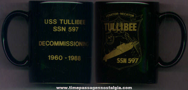U.S.S. Tullibee SSN 597 United States Navy Submarine Advertising Coffee Mug