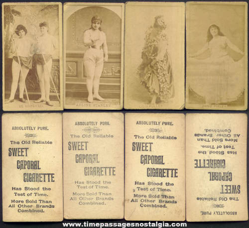 (4) 1880s Sweet Caporal Cigarette Pretty Lady Actress Tobacco Photograph Cards