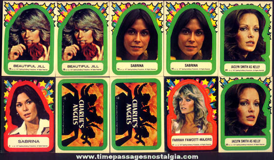 (10) �1977 Charlie's Angels Character Bubble Gum Sticker Trading Cards