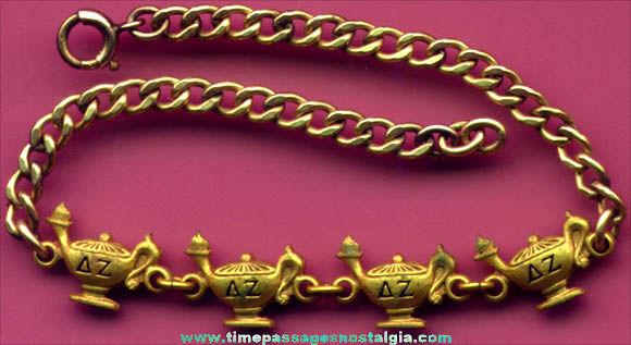 Old Delta Zeta Sorority Charm Bracelet With (4) Charms