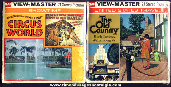 (2) Different Unopened 1970s Scenic GAF Viewmaster Packets