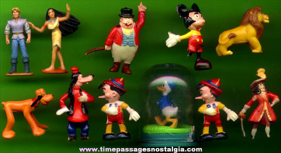 (11) Small Old & Newer Walt Disney Character Figures