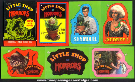 (44) �1986 Little Shop Of Horrors Character Bubble Gum Trading Cards, Stickers, & Wrapper