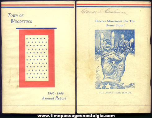 1943 - 1944 Woodstock Maine Annual Reports Book With World War II Covers