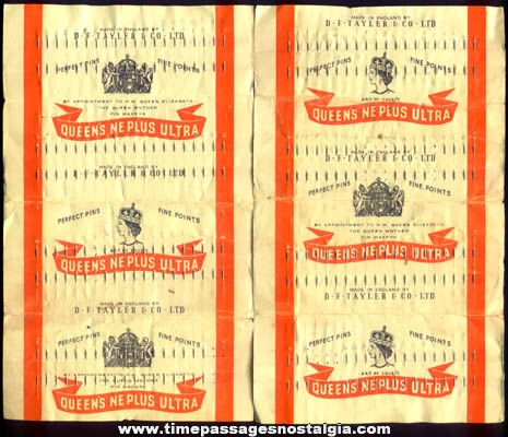 (2) Old Full Queen Elizabeth English Sewing Pin Sheets