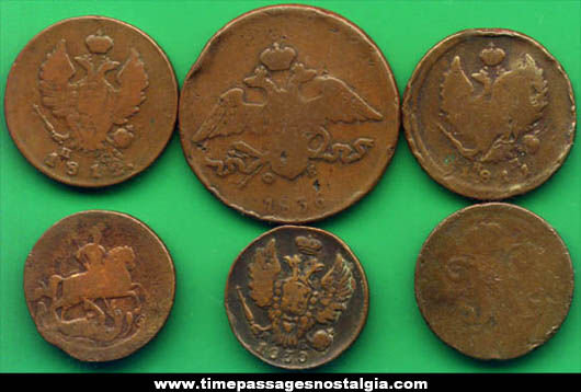 (6) Old Russian Coins
