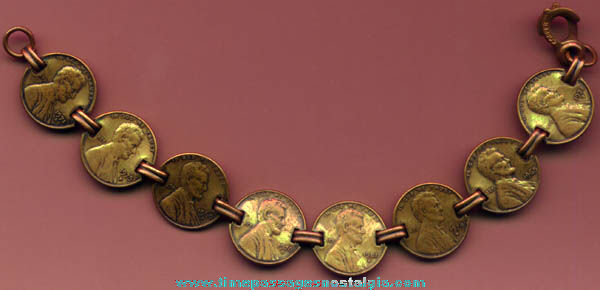 United States Lincoln Memorial Cents Copper Charm Bracelet