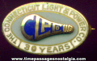 Connecticut Light & Power Company 30 Year Enameled Gold Employee Pin