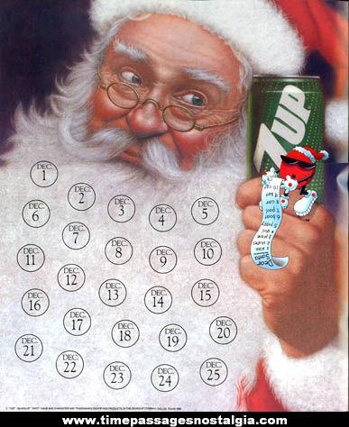 1989 7-Up Spot Character Advertising Christmas Calendar Poster