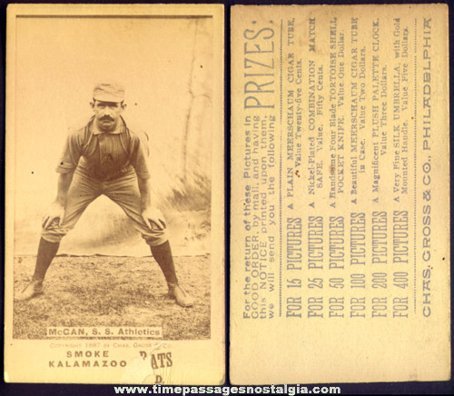 Rare N690 1887 Kalamazoo Bats Chippy McGan Philadelphia Athletics Baseball Tobacco Insert Card