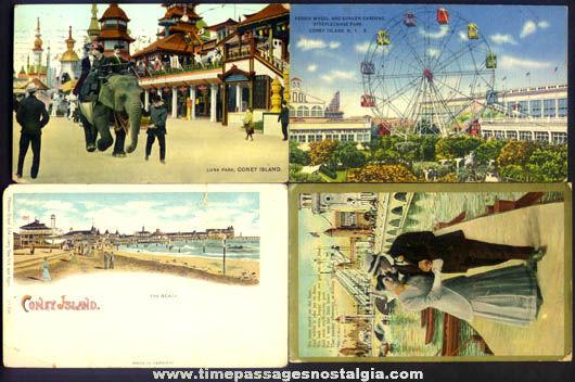 (4) Old Coney Island New York Amusement Park Post Cards